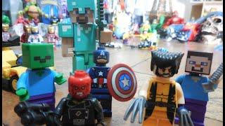 Minecraft Lego Jogo Steve Wolverine Capitão América X Caveira Vermelha Zumbi boneco Brinquedos Toys