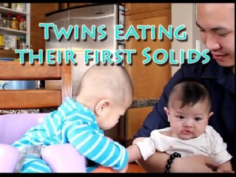 Boy Girl Twins Eat Solids for the First time xSodasWorldx 4.04.14