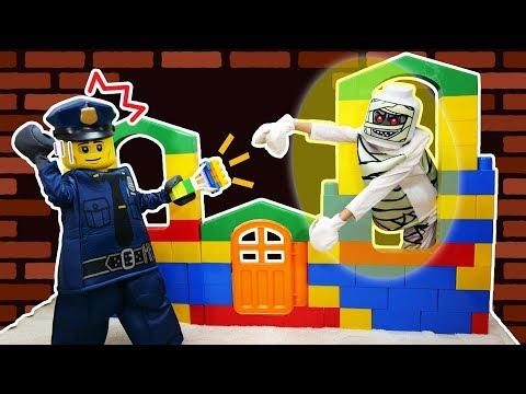 警察官は大変だ~ブロックのお家を守ろう!レゴブロックマンLet's protect the block house! ! Lego man himawari-CH