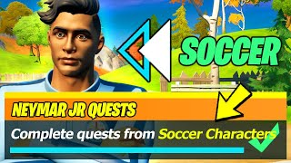 Complete Quests from Soccer characters LOCATIONS & Talk to a Soccer Character - Fortnite