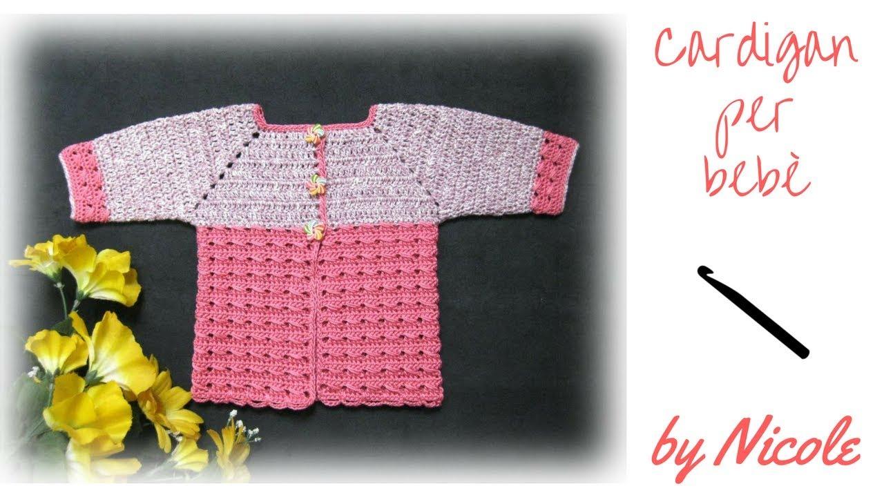 Cardigan Giacchina Alluncinetto Per Bebè Crochet A Baby Jacket