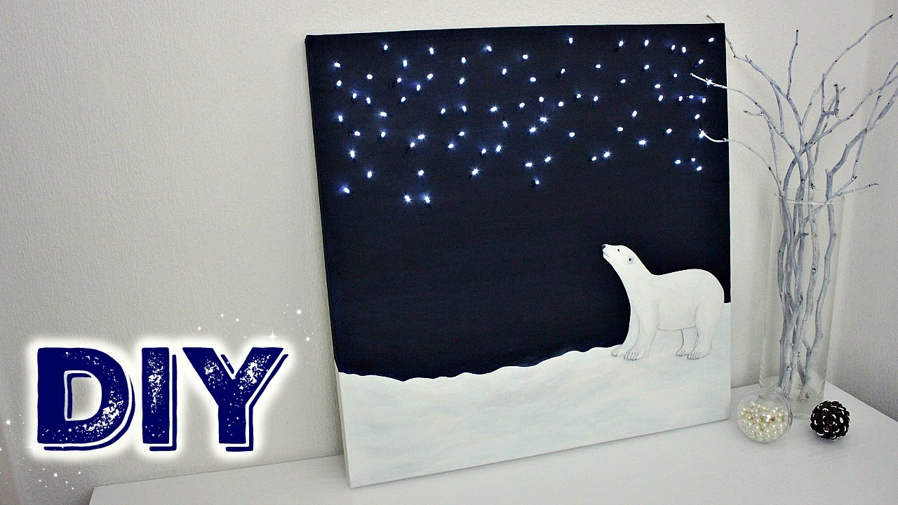 DIY Christmas Fairy Lights Polar Bear Canvas
