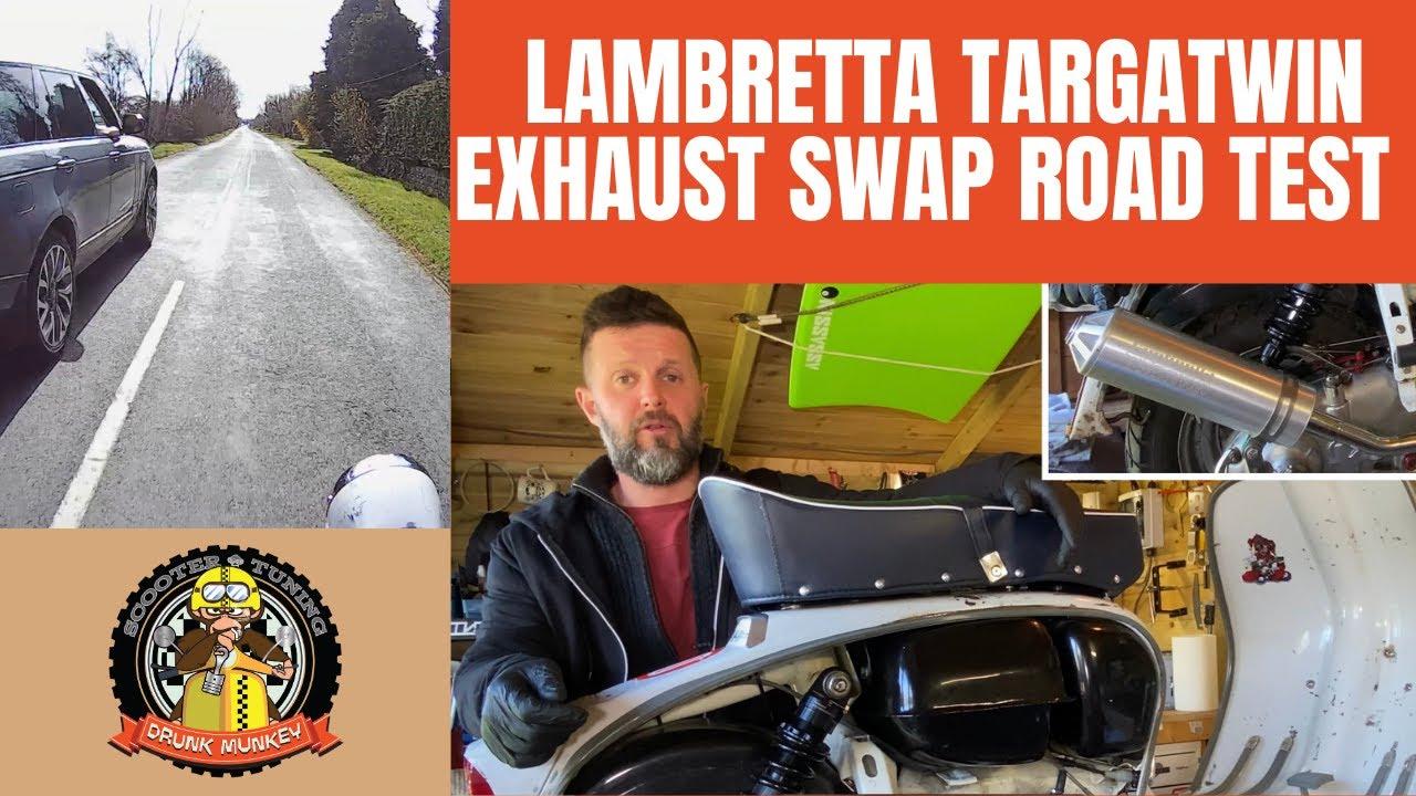 Lambretta exhaust swap - clubman vs expansion - Targa Twin 275cc with full throttle road test!