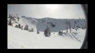 Snowboarding the 1st Chute of the Bowl - Mt. Ashland Oregon