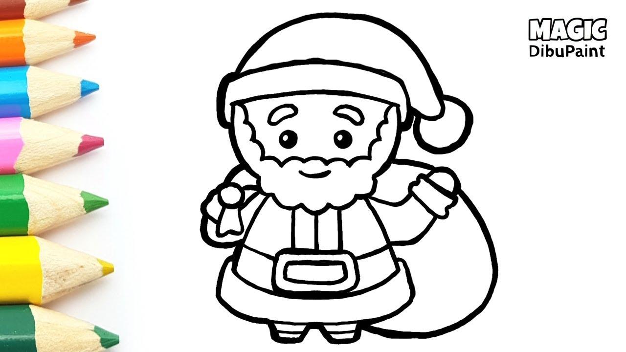 Pintar Dibujos Navidenos Dibujar Y Colorear Papa Noel Kawaii