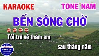 Karaoke Bến Sông Chờ Nhạc Sống Tone Nam Fm || Đoản Khúc Lam Giang || Phi Vân Điệp Khúc