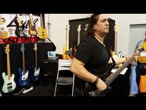 Tony Puleo performs at the Mike Lull Custom Guitars booth at the 2017 NAMM Show.