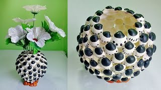 Flower Vase Making with Waste | How to make a flower vase | Flower vase making at home