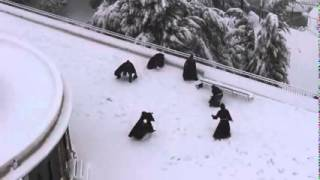 Repeat youtube video Franciscan Monks in snowball fight   Jerusalem February 2015