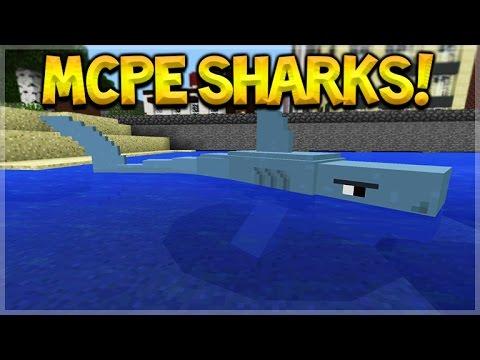 SHARKS IN MCPE!! Minecraft Pocket Edition: Amazing New Sharks & Megalodon Addon (Pocket Edition)