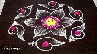 latest shanku kolam designs with7x4 dots for navarathri festival - easy rangoli designs - muggulu