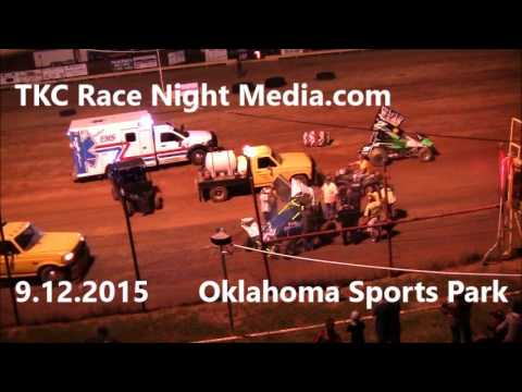 9.12.2015 Oklahoma Sports Park OCRS Sprint Car Roll Over!!