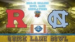 Quick Lane Bowl Sim - Rutgers vs North Carolina (NCAA Football 14 - Xbox 360)