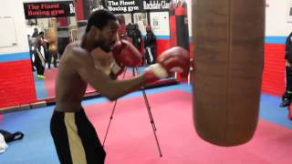 NEW JERSEY'S JOHN THOMPSON WORKS THE HEAVYBAG AHEAD OF WORLD TITLE CLASH WITH LIAM SMITH / WW3