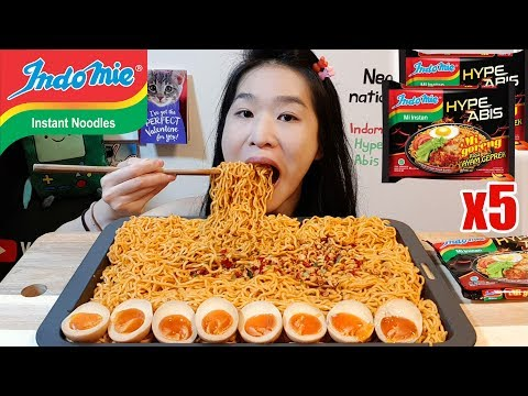 CRAZY SPICY INDOMIE HYPE ABIS!! 5 Packs Of Mi Goreng Ramen Noodles | Mukbang W/ Asmr Eating Sounds