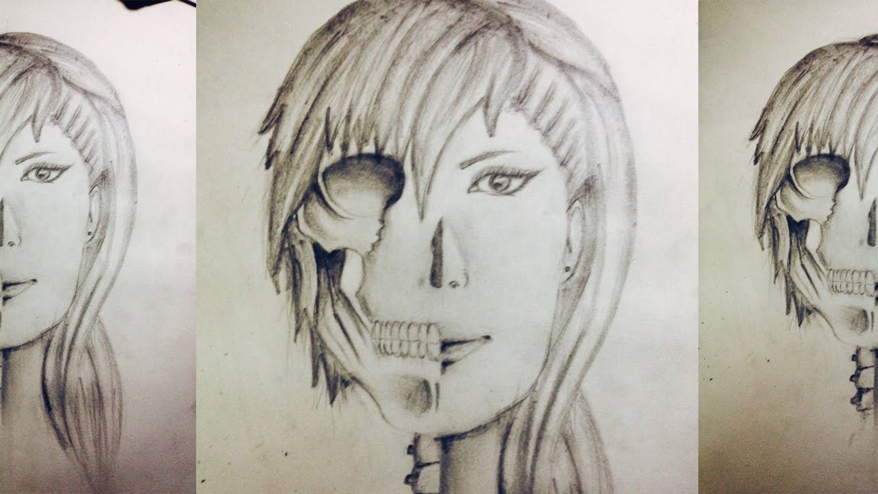 Skull Girl - Pencil shading - YouTube