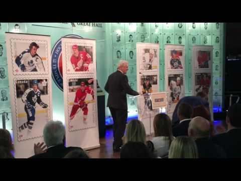 Darryl Sittler unveiling his new canada post stamp