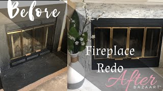 DIY Fireplace RESURFACE | RENTAL Friendly!!