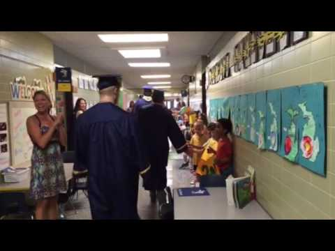 Grand Haven High School seniors visit their old elementary schools