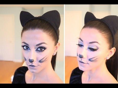 Kitty Cat Halloween Make-Up - YouTube