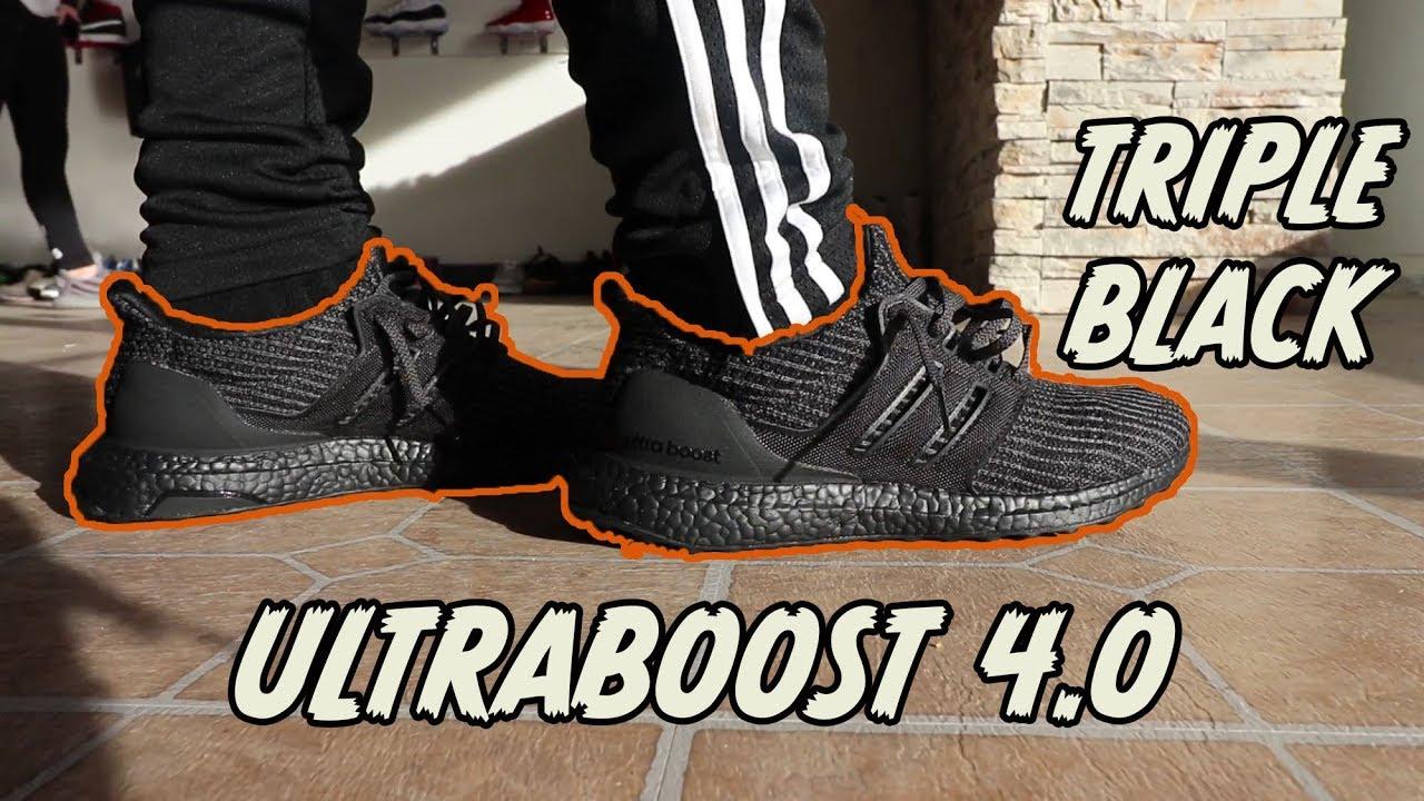 adidas ultra boost 4.0 triple black on feet