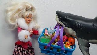 "Best Shopkins Video 200+ Barbie & Shark Stork @ Dreamhouse ""Toy Freaks Style"""