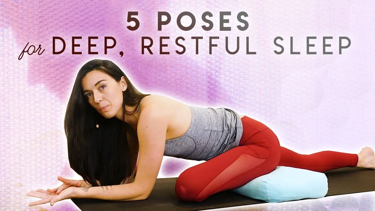 Yoga for Sleep, Stress Relief & Deep Relaxation   5 Poses w. Julia Marie, Sleep Aid