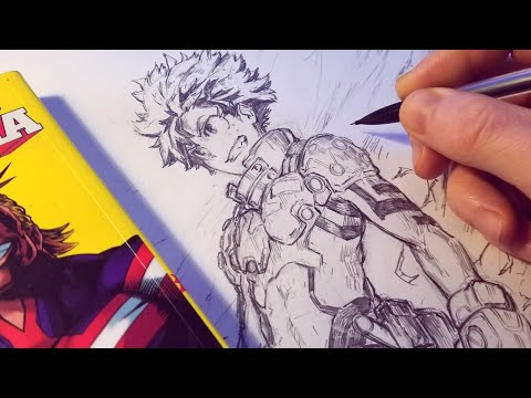 Drawing Izuku Midoriya NEW HERO Design - Redesign | Anime Manga Sketch