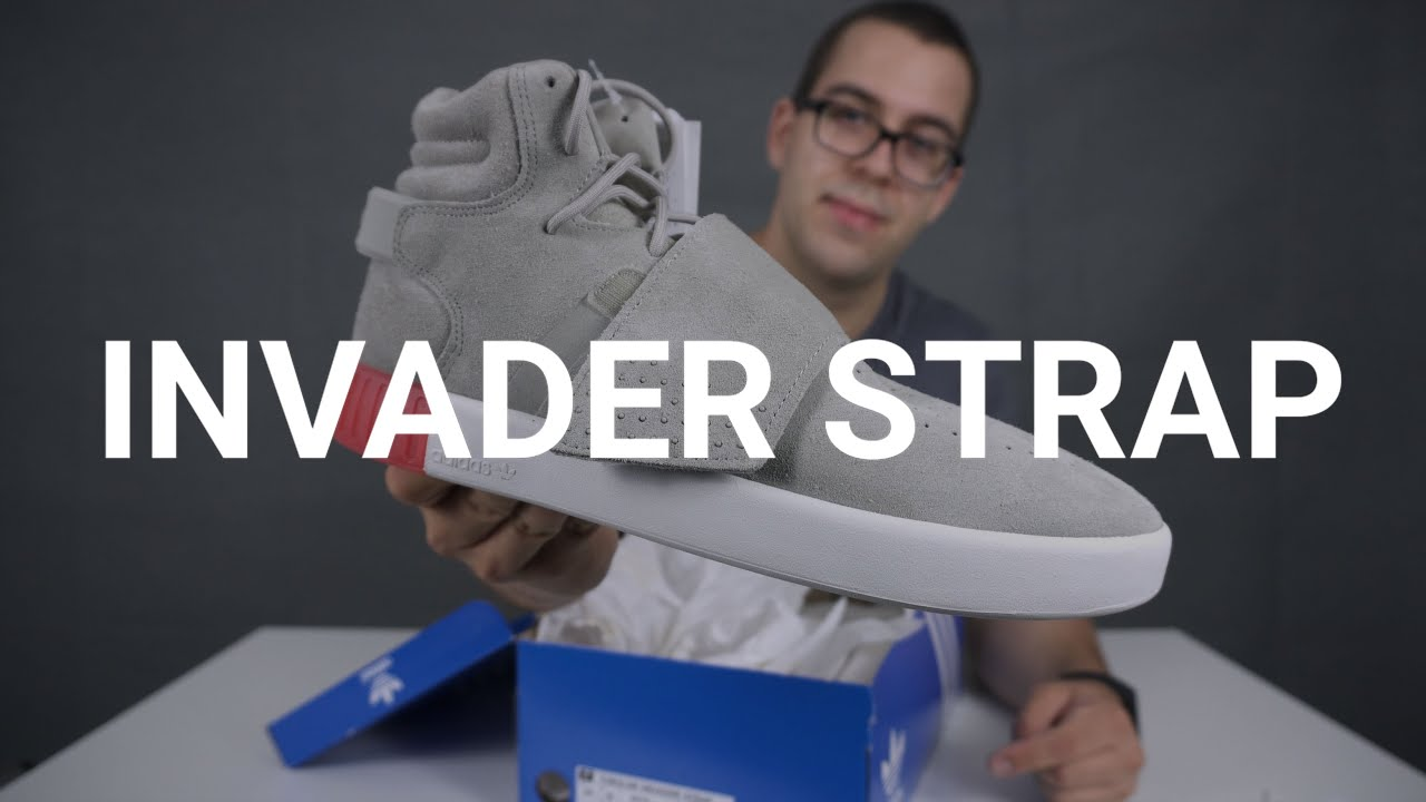 Adidas tubular invader strap cream gray