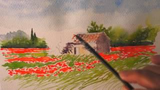 Aquarelle : Le cabanon aux coquelicots (watercolor)