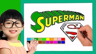 How to write Superman text and Coloring for kids | Learn drawing art on paper for kids