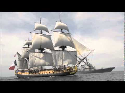 USS Mitscher greets French tall ship replica the Hermione