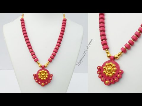 How To Make Designer Necklace At Home   DIY   Necklace Making With Quilling Paper   uppunutihome