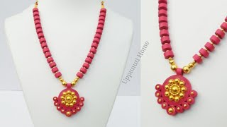 How To Make Designer Necklace At Home | DIY | Necklace Making With Quilling Paper | uppunutihome
