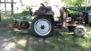Ремонт плуга на самодельном тракторе.