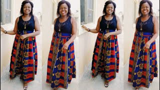 How to cut a high waist gathered skirt with pockets