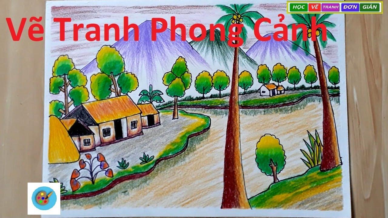 ART#6| Cách Vẽ Tranh Phong Cảnh Bằng Bút Chì Màu Đơn Giản – .how to draw landscape by color painting