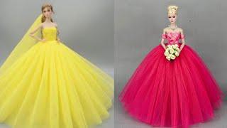 ♥️ How to make barbie clothes ~ DIY Barbie Doll Dresses 👗Gorgeous DIY Barbie Doll Dresses