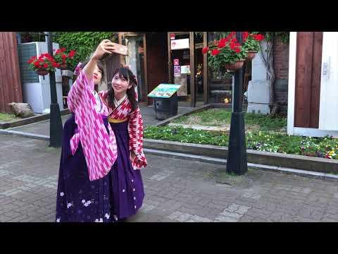 函館 帰省して 貸衣装 レンタル袴ハイカラさん姿になって 明治館周辺で撮影 自撮り