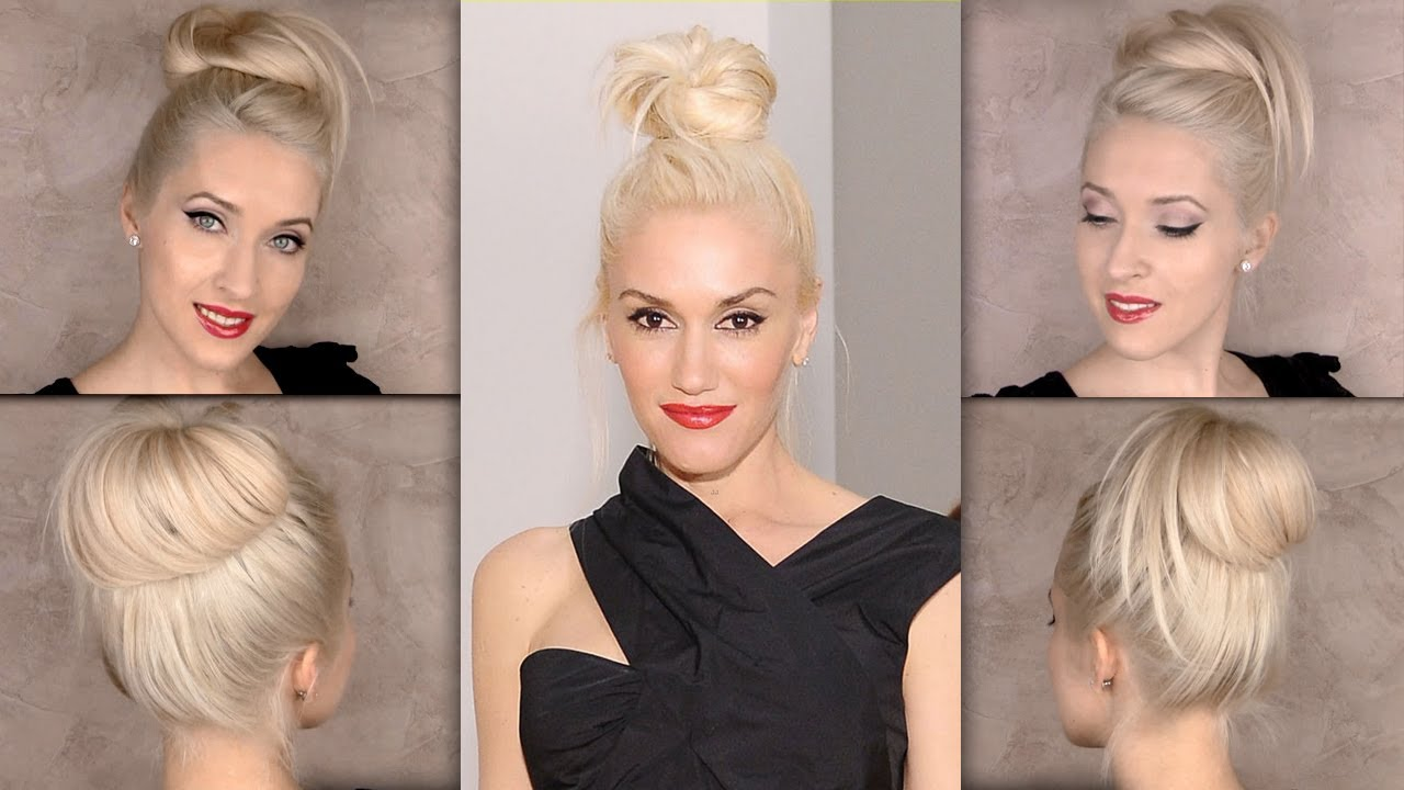 Top Knot Hair Tutorial Gwen Stefani Bun Hairstyle Youtube