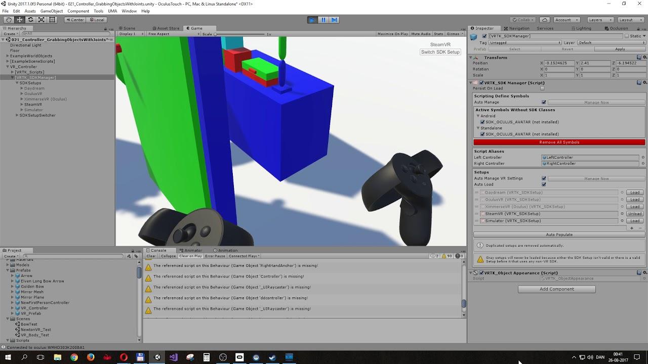 Unity3D - VRTK tutorial Touchpad locomotion example