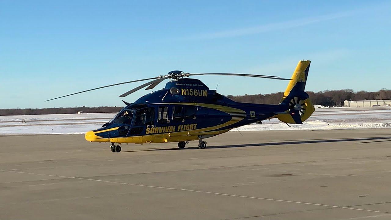 Download University of Michigan Survival Flight Eurocopter EC155 N156UM Spotted in Muskegon (MKG)
