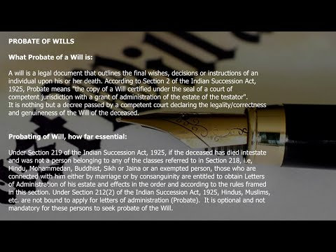 Probate of Wills in India