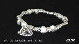Silver and Fresh Water Pearl Tribal Bracelet with Love Heart Thumbnail