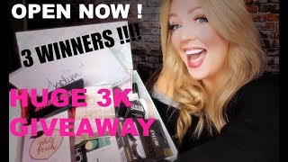 HUGE 3K GIVEAWAY 2018 ! 3 WINNERS ! BEAUTY & MAKEUP ( OPEN NOW )