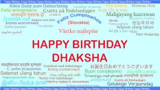 Dhaksha   Languages Idiomas - Happy Birthday