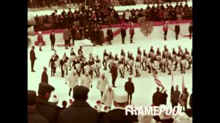 Opening Ceremony of the Olympic Winter Games in Innsbruck, Austria 1964 (HD Stock Video)