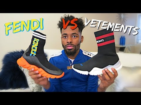 Vetements x Reebok Sock Shoe vs Fendi Love Sock Sneaker