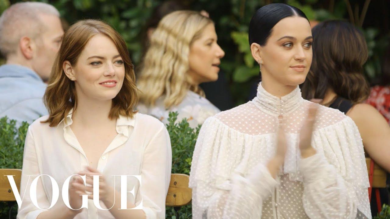 Emma Stone & Katy Perry Watch the Creative Final Fashion Show | Vogue