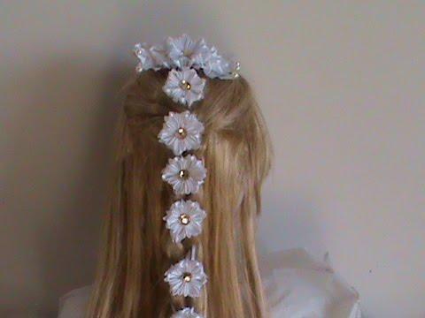 Как вплести ленту в косу с цветами